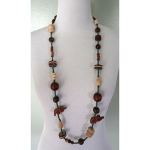 Brown Turquoise Beaded Wood Elephant Necklace